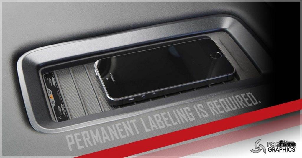 Polyfuze Graphics permanent labeling for automotive lse polyolefin plastics